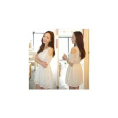 Cut-out Shoulder Lace A-Line Dress ($22) ❤ liked on Polyvore
