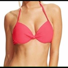 CALIFORNIA WAVES BIKINI TOP Super cute California Waves push up bikini top in a coral color. Has a twist front detail. Material nylon/spandex/polyester. Size large. California Waves Swim Bikinis