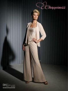 mother of the bride chiffon pant suit