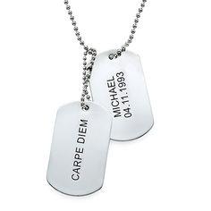 Engraved Dog Tags Necklace in Stainless Steel