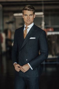 Banker suit inspiration with a black double breasted pinstripe suit white cotton pocket square brown silk tie Gentleman Mode, Modern Gentleman, Gentleman Style, Modern Mens Fashion, Mens Fashion Suits, Mens Suits, Men's Fashion, Suit Men, Fashion Guide