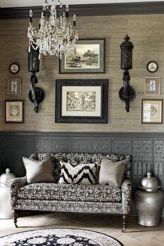 Black, white and gray interior. Interior Design by Anthony Como of Luxe Interiors Home Interior, Interior And Exterior, Interior Decorating, Gray Interior, Monochrome Interior, Decorating Ideas, Hallway Decorating, Design Entrée, Home Design