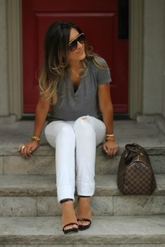 White jeans charcoal gray T-shirt ~ love this classic simple look!