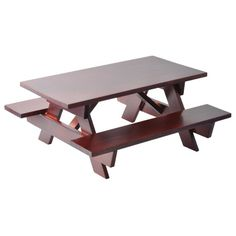 Miniature Redwood Picnic Table with Attached Benches
