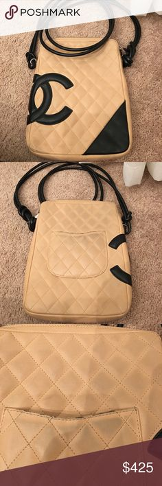 Authentic Chanel Vintage Black and Tan Crossbody Authentic Chanel Black and Tan Crossbody in good condition overall. However, some of the leather at the bottom and back of the bag has faded. Also, the leather in the bag on the back has slightly darkened from rubbing against clothing. I am sure there is a way to clean it; however, I am not sure how. Please see the pictures carefully. It still has many years of use. Firm in price and no trades. CHANEL Bags Crossbody Bags