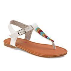 Petalia Girls' Beaded Thong Sandals, Girl's, Size: 11, White