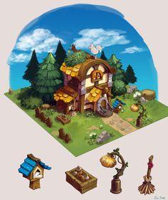 forest house for small friends, Bom Bom ArtStation - forest house for small friends, SO JUNG<br> Environment Concept Art, Environment Design, Prop Design, Game Design, Chalk Pastel Art, Casual Art, 2d Game Art, Isometric Design, Fantasy House