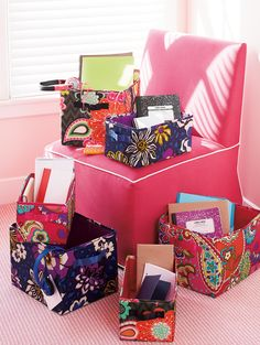 Vera Bradley Fall 2014:  Medium Collapsible Bin and Small Collapsible Bin in African Violet, Pink Swirls and Ziggy Zinnia.  #verabradley #bins #organization