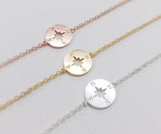 Compass Bracelet christmas gift best friend by ElliesButton