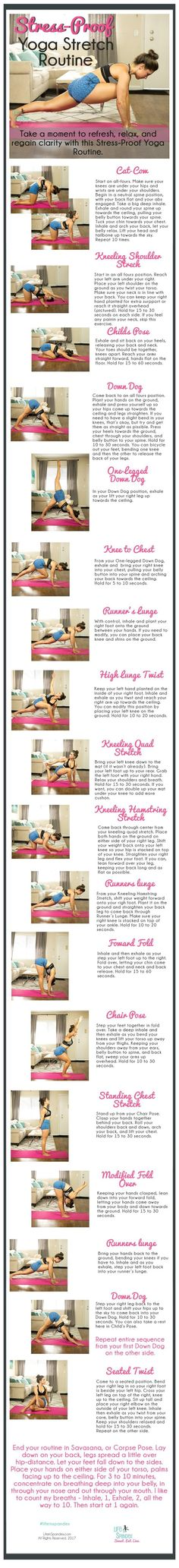 This Basic Stress-Proof Yoga Stretch Routine that can be done anywhere. All you need is a mat! I love to put on soothing music and light candles, too.