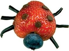 Healthy strawberry and blueberry ladybug (with chocolate chips!)