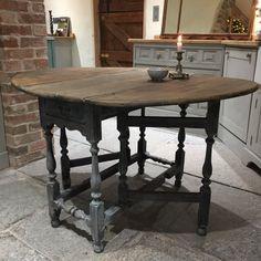 Charming Antique Vintage Grey Hand Painted Oak Gateleg Table Rustic Patina Handmade