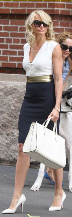 Who made Cameron Diaz white button top, gold belt, blue skirt, and white pumps that she wore in New York? Fashion Mode, Work Fashion, New Fashion, Womens Fashion, Street Fashion, Fashion News, Work Looks, Looks Style, Style Me