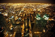 A general view of the city of Chicago, March 23, 2014. All those lights are beautiful, but I know it won't look this way from the ground.