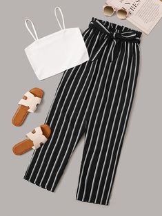 Shop Solid Cami Top & Paper Bag Waist Striped Pants at ROMWE, discover more fashion styles online. Cute Comfy Outfits, Cute Girl Outfits, Cute Summer Outfits, Retro Outfits, Stylish Outfits, Cool Outfits, Girls Fashion Clothes, Teen Fashion Outfits, Crop Top Outfits