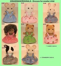 Grandmasoriginals, provides new fashion clothes for Sylvanian Families, Calico Critters and a selection for Heidi Ott Dolls House Dolls. A custom made service is also available for fans of these little dolls. Coloring Pages Winter, Calico Critters Families, Bat Pattern, Sylvanian Families, My Sewing Room, Little Critter, Doll Patterns, Clothes Patterns, Doll Furniture