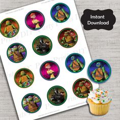 Teenage Mutant Ninja Turtles Cupcake Topper,TMNT topper,JPG file,Cupcake Toppers,TMNT Party,Ninja Turtles,Turtle Party Favor,DPP27