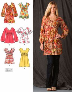 PEASANT BOHO Dress & Tops Sewing Pattern - 5 Sizes Mini Dresses & Tunic Top - SOLD! Last one relisted at http://www.etsy.com/listing/80219397