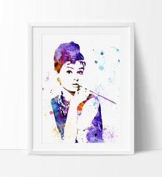 Audrey Hepburn Poster Watercolor Art, Audrey Hepburn Art Celebrity Portraits, Watercolour Painting Print, Audrey Hepburn Print (111)