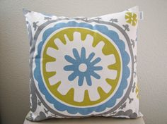 Boho+Gray+Citron+and+Blue+Pillow+Cover+by+shopalexandrarose,+$20.00