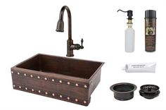 838mm Hammered Copper Kitchen Apron Single Basin Sink w/ Barrel Strap Design with ORB Pull Down Faucet, Matching Drain, and Accessories.