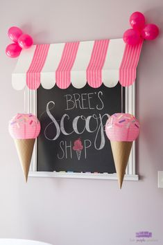 Make your own ice cream party decor! Adorable & easy, these DIY Paper Lantern Ice Cream Cones are such sweet decorations. #icecreambabyshower #diyparty #diypartyideas #paperlanterndecor #paperlanterndecorations #sprinkles #icecreamparty #babyshower