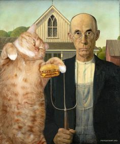 Cats through Art History * The fame of Russian artist Svetlana Petrova--or rather, her cat Zarathustra--has swept across the internet. Petrova inherited the big orange cat in 2009 from her late mother. She was grieving deeply for her mother when a friend suggested that the process those feelings by using Zarathustra in an art project. Thus arose Fat Cat Art, Petrova's ongoing effort to place her cat in famous works of art, such as Salvador Dalí's The Persistence of Memory.