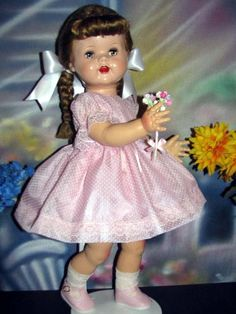 I have this doll but she has reddish blonde hair and her name is Peggy
