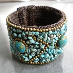 Cotton Rope Coral/ Quartz/ Lapis/ Turquoise Brass Wire Cuff (Thailand) | Overstock.com Shopping - Great Deals on Bracelets