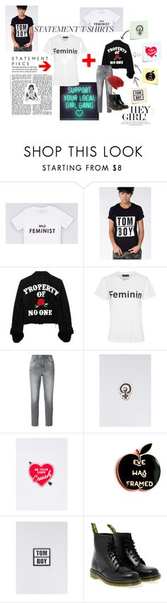 """""""support ur local girl gang"""" by suchajocundcompany ❤ liked on Polyvore featuring Wildfang, Golden Goose, Post-It, Felt Good Co., Yvng Pearl, Dr. Martens, statement, tomboy, feminist and statementtshirt"""