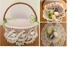 crochet set of napkins (doily)  with basket by Niezapominajkinet on Etsy