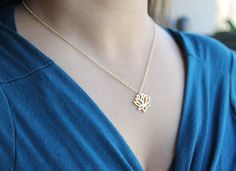 """Dainty & Delicate Lotus Pendant Necklace on Choice of 16"""" or 18"""" chain with lobster clasp, in 18k gold plated or Silver Plated Finish"""