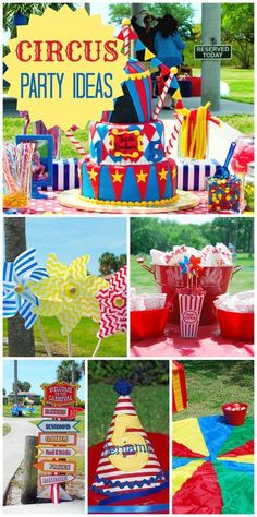 What a fun and colorful circus birthday party with an amazing cake and activities! Circus Carnival Party, Circus Theme Party, Carnival Birthday Parties, Circus Birthday, First Birthday Parties, Birthday Party Themes, First Birthdays, 5th Birthday, Dumbo's Circus