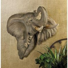 Elephant Head Wall Art Decoration Home Accent