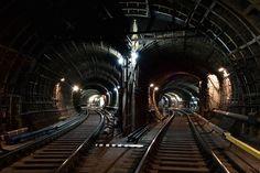 Chekhovskaya metro station. Tunnel ways