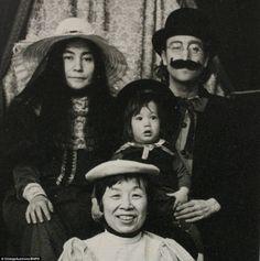 John and Yoko Lennon Old Time Photos ~ Feat. Cross-Dressed John Lennon, Sean, and Nanny.