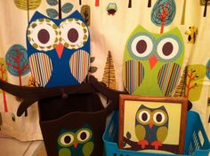 Owl Bathroom Collection Includes Woodland Waste by TheWoodenOwl, via Etsy.-- cute bathroom idea!