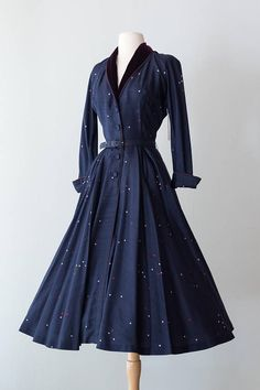 Vintage 1950s Dress Early 50s Silk Navy Cocktail Dress w/
