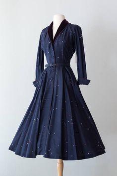 Vintage 1950s Dress Early 50s Silk Navy Cocktail Dress w/