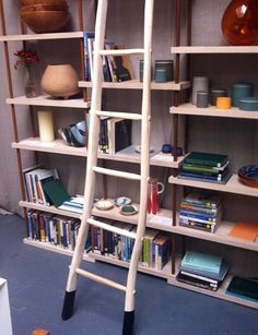 CCOI A Place to Gather: Bookcase by Designgoat, ladder by James Carroll of Stickman with various Irish design objects. London Design Week, London Design Festival, Irish Design, Ladder Bookcase, Objects, Shelves, Crafts, Home Decor, Shelving