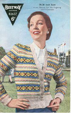beb66aa09883 Knitting Pattern for Womens Fair Isle Cardigan- Bestway 2637 - Digital PDF