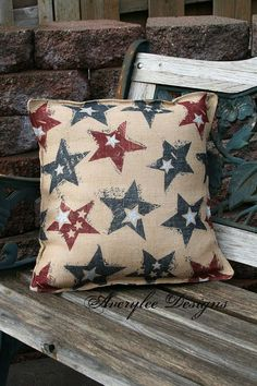 """Americana Burlap Stars Pillow Cover ~ 16""""sq with red, white, & blue stars on a burlap background, $18 