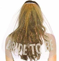 Sparkle Gem  Bride to Be Rhinestone Veil in Gold for a Gatsby Theme Bachelorette Party!