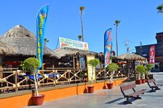 Front view of the The Taco factory restaurant in San Felipe, Mexico along the popular Malecon boardwalk.