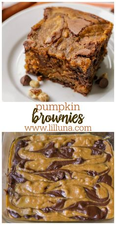The yummiest Pumpkin Brownies you will ever taste! Pumpkin, chocolate, and spices unite to make one pan of deliciousness that will sure to satisfy anyone's pumpkin addiction. Fall Desserts, Delicious Desserts, Yummy Food, Fall Dessert Recipes, Thanksgiving Desserts, Strudel, Pumpkin Recipes, Fall Recipes, Pumpkin Foods