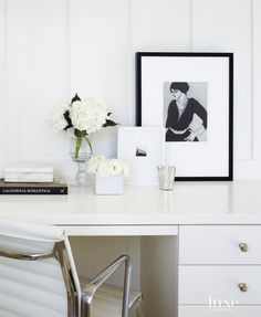 Contemporary White Master Bedroom Desk