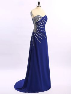 Sheath/Column Sweetheart Chiffon with Beading Good Royal Blue Prom Dresses in UK