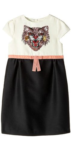 Pretty kitty!  Your girl will look like a cool cat in this purr-fectly precious #Gucci #Kids #Dress.  #girls #apparel #clothing #dresses #child #children #childrenswear