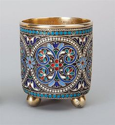 A Russian silver-gilt and cloisonne enamel small beaker, Moscow 1887 Hand Painted Dishes, Glass Candle Holders, Russian Art, Decorative Items, Antique Silver, Glass Art, Initials, Enamel, Nice