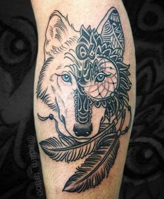 Blackwork wolf mandala dream catcher tattoo